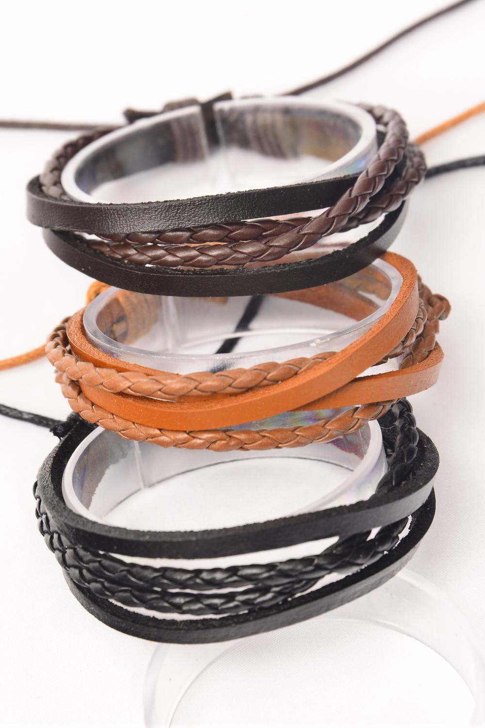 Bracelet Real Leather & Braid style Mix/DZ **Unisex** Adjustable,4 of each Color Asst,Hang Tag & OPP Bag & UPC Code
