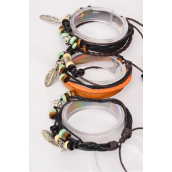 Bracelet Real Leather Band & Feather Charm Mix Double Wrap/DZ **Unisex** 4 of each Color Mix,Hang tag & OPP Bag & UPC Code
