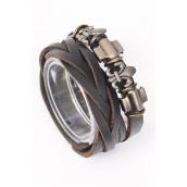 "Bracelet Braid Leather Stacked W Flue Delis Black/PC **Unisex** Adjustable,Black,Size-7.5""x 8.25"" Wide,Hang tag & OPP Bag & UPC Code"