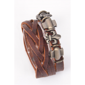 "Bracelet Braid Leather Stacked W Flue Delis Brown/PC **Unisex** Adjustable,Brown,Size-7.5""x 8.25"" Wide,Hang tag & OPP Bag & UPC Code"