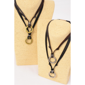 Men's Leather Necklace Circle/DZ **Adjustable** 6 Black & 6 Brown Leather Mix,3 of each Color Asst,Hang Tag & OPP Bag & UPC Code -