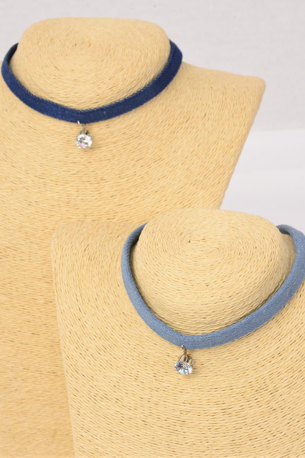 "Necklace Choker Denim CZ Pendant/DZ Size-14"" W Extension Chain,6 of each Color Asst,Display Card & OPP Bag & UPC Code"