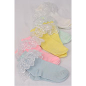 Socks Girl's Long Lace Socks With Spandex/DZ Colors-4 White,2 Pink,2 Yellow,2 Mint Green,2 Blue,5 Color Asst,Choose  Color & Sizes