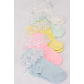 Socks Girl's Lace Socks Pastel Color Asst Large/DZ **Size Large** Pastel,*Spandex,Colors-4 White,2 Pink,2 Yellow,2 Blue,2 Mint Green,5 Color Asst,Display Card & OPP Bag & UPC Code