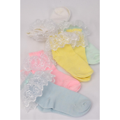 Socks Girl's Lace Socks Pastel Color Asst X-Large/DZ **Pastel XLarge** Pastel,*Spandex,Colors-4 White,2 Pink,2 Yellow,2 Blue,2 Mint Green,5 Color Asst,Display Card & OPP Bag & UPC Code