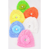 "Kufi Hat Crochet For Kids Small Gerber Daisy Flower/DZ **Stretch** Flower Size-3"" Wide,2 Pink,2 White,2 Blue,2 Orange,2 Yellow,2 Lime,6 Color Asst, Hang tag & UPC Code,Clear Box"