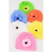 "Kufi Hat Crochet For Kids W Small Daisy flower/DZ **Stretch** Flower Size-3"" Wide,2 Pink,2 Blue,2 White,2 Orange,2 Lime,2 Yellow,6 Color Asst,W Hang tag & UPC Code,W Clear Box -"