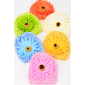 "Kufi Hat Crochet For Kids W Large Daisy flower/DZ **Stretch** Flower Size-4"" Wide,2 of each color Color Asst, Hang tag & UPC Code,W Clear Box -"