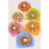"Kufi Hat Crochet For Kids W Large Gerber Daisy Flower Leopard Print/DZ **Stretch** Flower Size-4.25"" wide,2 of each Color Asst,hang tag & UPC Code,W Clear Box -"