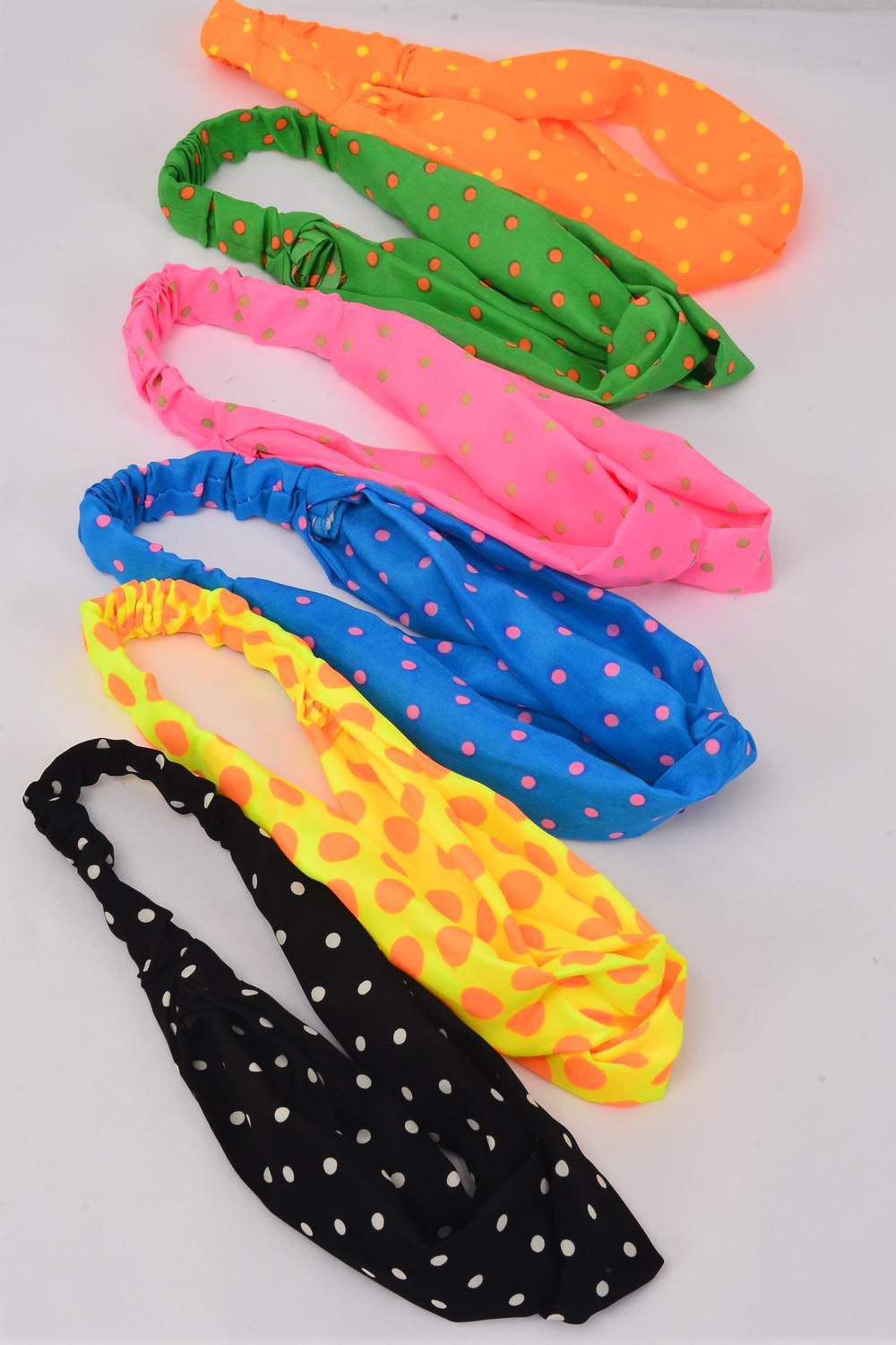 Headband Infinity Style Fabric Polkadots Pattern Stretch/DZ **Stretch** 2 of each Color Asst,Individual Hang Tag & OPP Bag & UPC Code,