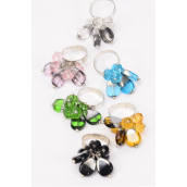 "Rings Venetian Glass Glass Crystal Charms Mix/DZ **Adjustable** face Size--1.25"" Wide, 2 of each Color Asst,W Velvet Ring Display Window Box & OPP  bag & UPC Code -"