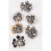 "Rings Flower & Pearls Center have Frog/DZ **Adjustable** Face Size-1.25"" Wide,4 Gray,2 White,2 Cream,2 Black,2 Gold Pearl Mix,1DZ Velvet Ring Display Box & OPP bag & UPC Co -"