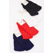 "Ballerina Headband 24 pcs Stretch Red White Bk Navy Mix/DZ **Stretch** Size-5.5""x 2.75"" Wide,3 of each Color Asst,Hang tag & UPC Code,each card has 2 pcs,12 card=Dozen -"