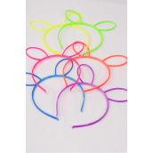 Headband Horseshoe Acrylic Bunny Ear Neon Color Asst/DZ **Neon** 2 Of Each Color Asst,Individual OPP Bag & Hang Tag & UPC Code