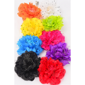 "Silk Flower Jumbo Polkadots Alligator Clip/DZ Size-5.5"" Wide,Alligator Clip & Brooch & Elastic Pony,2 Black,2 Red,2 Purple,1 Fuchsia,1 Yellow,1 White,1 Blue,1 Orange,1 Lime,9 Color Asst."