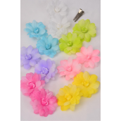 "Flowers 24 pecs Alligator Clip 2 tone Flowers Pastel/DZ **Pastel** Flower Size-2.75"" Wide, 2 Hot Pink,2 Blue,2 Lavender,2 Yellow,2 White,1 Lime,1 Baby Pink,7 Color Asst"