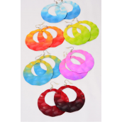 "Earrings Metal Round Tie-dye Citrus Color Mix/DZ Size-2.5"" Wide,2 of each Color Asst,Earring card & OPP Bag & UPC Code -"