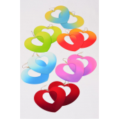 "Earrings Metal Heart Color Asst/DZ **Fish Hook** Size-3""x 2.55"" Wide,2 of each Color Asst,Earring Card & OPP bag & UPC Code -"