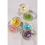 "Bangle Metal Hinge Round Glass Cut Stone/DZ **Hinge** Face Size-1.75"" Wide,2 of each color Mix, OPP Bag"