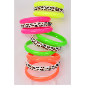 "Bangles 3 pcs Acrylic Neon & Leopard Mix/DZ Size-2.75"" x 0.5"",3 of each Color Asst,Hang tag & OPP bag & UPC Code,3 pcs per Card,12 Card= Dozen"