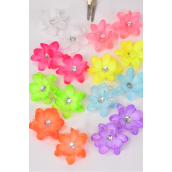 "Flowers 24 pcs Alligator Clip 3 Layer Flowers Neon Color Mix/DZ **Caribbean Neon Color Mix** Flower Size-2.5"" Wide,2 Pink,2 Blue,2 Purple,2 White,1 Orange,1 Lime,1 Yellow,1 Coral,8 Color Asst"