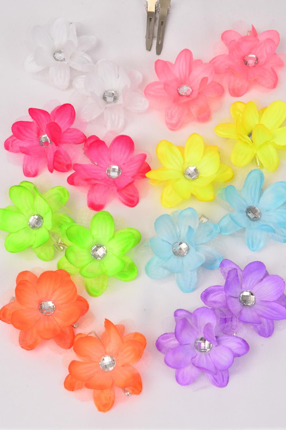 "Flowers 24 pcs Alligator Clip 3 Layered Flowers Neon Color Mix/DZ **Caribbean Neon** Flower Size-2.5"" Wide,2 Pink,2 Blue,2 Purple,2 White,1 Orange,1 Lime,1 Yellow,1 Coral,8 Color Asst"