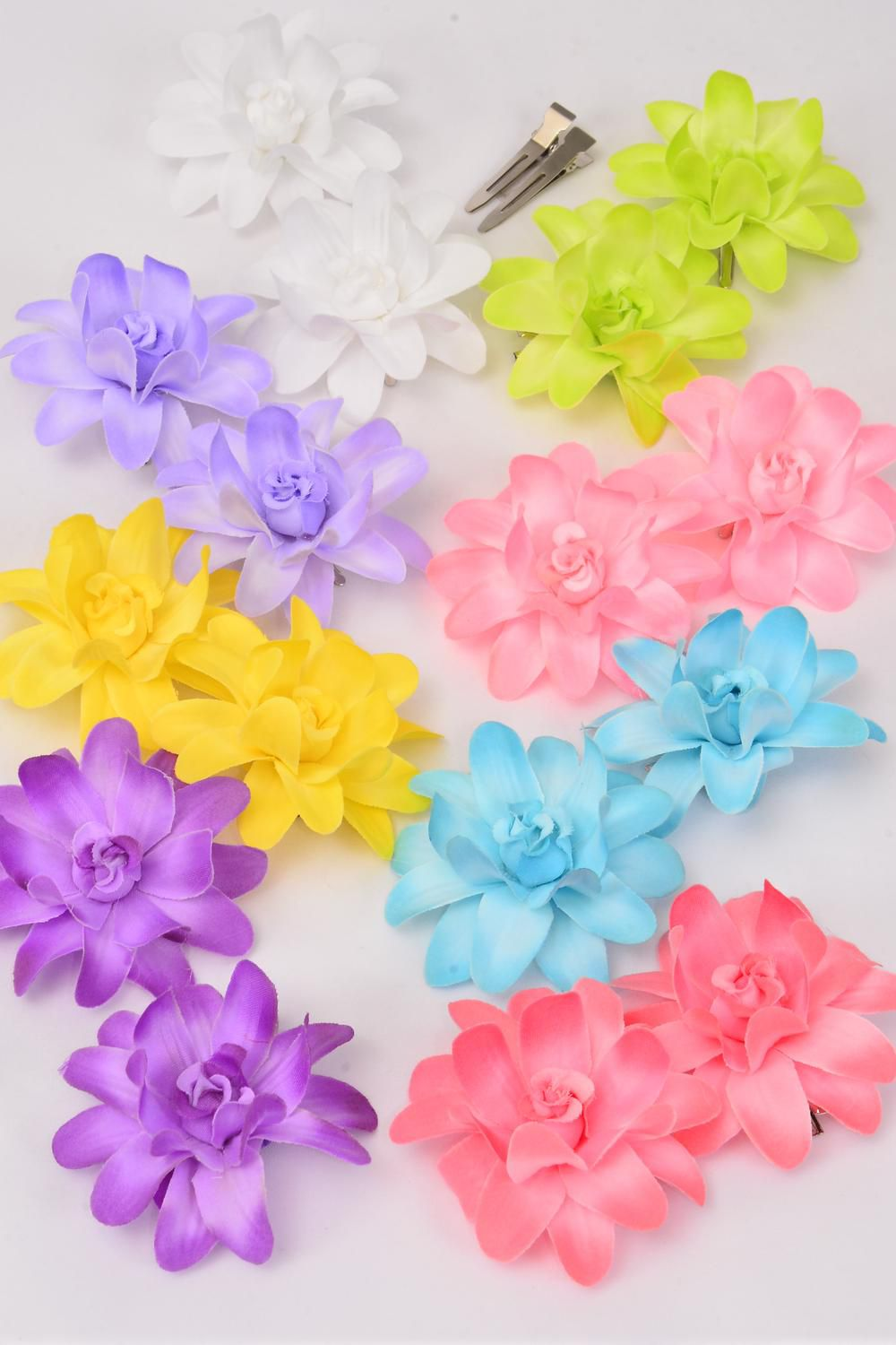 "Flowers 24 pcs Alligator Clip Pastel/DZ **Pastel** Flower Size-2.75"" Wide,2 Purple,2 Blue,2 Pink,2 Yellow,1 White,1 Lime,1 Lavender,1 Coral,8 Color Asst"