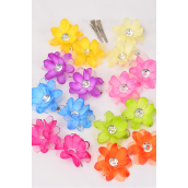 "Flowers 24 pcs Alligator Clip W Bunch Layer Flowers Citrus Glitters/DZ **Citrus** Flower Size-2.5"" Wide,2 Fuchsia,2 Purple,2 Pink,2 White,1 Blue,1 Yellow,1 Orange,1 Lime,8 Color Asst"