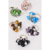 Rings Glass Crystal Charm & Real Semiprecious Stone Mix/DZ **Adjustable** 2 of each Color Asst,1 DZ Velvet Ring Display Window Box,OPP Bag & UPC Code -