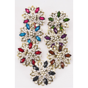 "Rings Metal Poly Stone Flower Clear Rhinestones/DZ **Adjustable** Flower Size-2"" Wide,2 Black,2 Purple,2 Fuchsia,2 Red,2 Blue,1 Green,1 Brown,7 Color Asst"