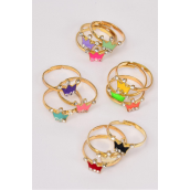 Rings 36 pcs Enamel Crown Rhinestones/DY **Adjustable** Pr Color Mix,1 Dozen Velvet Display Window Box & OPP Bag & UPC Code