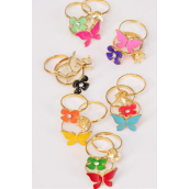 Rings 36 pcs per Display Enamel Flower & Butterfly & Diamond Cluster Rings Mix/DY **Adjustable** 2 of each Color Mix,1Dz Velvet Display Window Box & OPP bag & UPC Code -