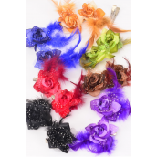"Flowers 24 pcs Mini Rose Feather Baby Breath Alligator Clip Dark Multi/DZ **Dark Multi**  Alligator Clip,Flower Size-2.5"" Wide,2 Black,2 Brown,2 Royal Blue,2 Burgundy,2 Purple,1 Camel,1 Green,7 color Asst."