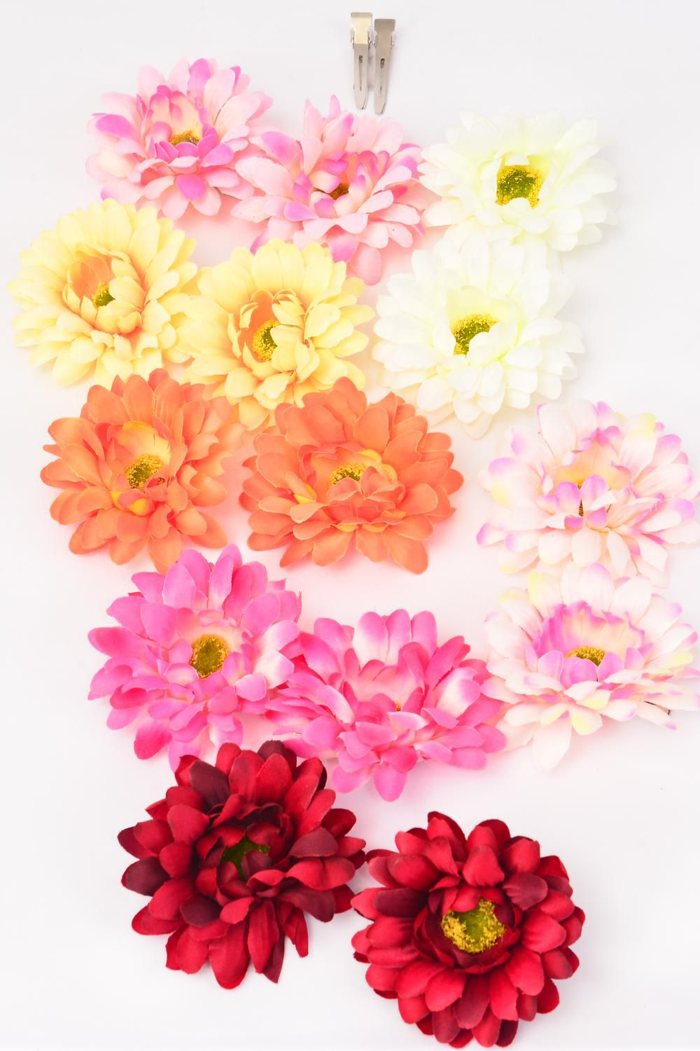 "Flowers 24 pcs Alligator Clip Flowers Life Like/DZ Size-2.75"" Wide,2 Fuchsia,2 Hot Pink,2 Beige,2 Orange,2 Yellow,1 Red,1 Pink,7 Color Asst"