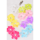 "Flowers 24 pcs Alligator Clip 3 Layer Flowers Pastel/DZ **Pastel** Flower Size-2.5"" Wide,2 Hot Pink,2 Lavender,2 Blue,2 White,2 Pink,1 Lime,1 Yellow,8 Color Asst"