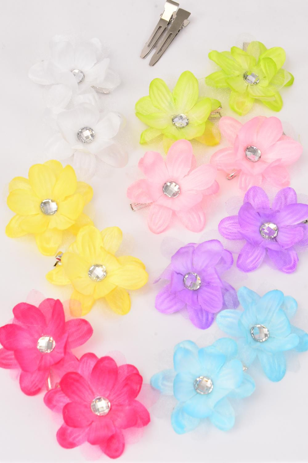 "Flowers 24 pcs Alligator Clip 3 Layered Flowers Pastel/DZ **Pastel** Flower Size-2.5"" Wide,2 Hot Pink,2 Lavender,2 Blue,2 White,2 Pink,1 Lime,1 Yellow,8 Color Asst"