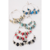 "Earrings Loop Bohemian Like Antique Acrylic Stone/DZ **Fish Hook** Size-2.25"" Wide,3 Turquoise,3 Green Turquoise,2 Red,2 Black,2 Ivory mix,Earring Card & Opp Bag & UPC Code -"