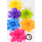 "Silk Flower Large Glitter Trime Citrus Alligator Clip/DZ **Citrus** Size-5.5"" Wide,Alligator Clip & Elastic Pony & Brooch,2 Purple,2 Yellow,2 Blue,2 Fuchsia,2 Orange,1 Lime,1 White,7 Color Asst."