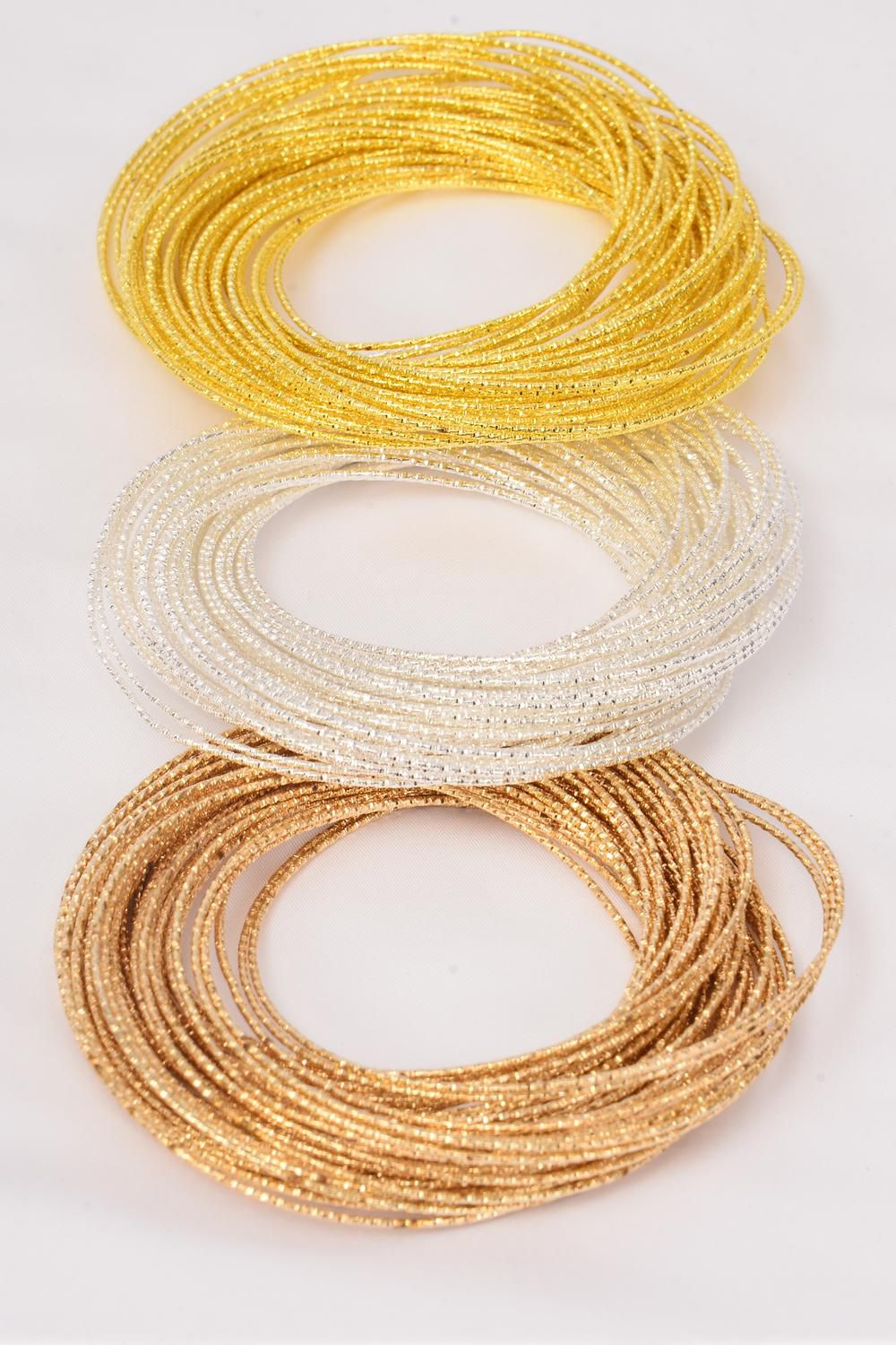 "Bangles 50 pcs Intertwined  Diamond Cut/PC Size-3"" Dia Wide, Hang Tag & OPP bag & UPC Code,Choose Colors -"
