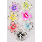 "Rings Poly Flower 2 Tones Asts/DZ **Adjustable**Flower Size-1.5"" Wide, 2 Fuchsia,2 Purple,2 Yellow,2 Blue,2 Black,1 Red,1 Lime,7 Color Mix,7 Color Asst Code"