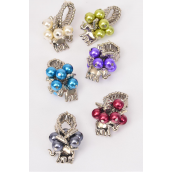 "Rings Elephant Charm 8 mm Pearls/DZ **Stretch** Width 1.5"" Wide,Elephant Size-1""x 0.75"" Wide,2 of each Color Asst,Velvet Ring Display Card & OPP bag & UPC Code -"