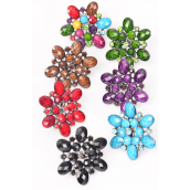 "Rings Fall Marble Flower Color Rhinestones Antique Finish/DZ **Adjustable** Face Size-1.75"" Wide,2 Blue,2 Purple,2 Black,2 Multi,2 Brown,1 Green,1 Red,7 Color Asst."