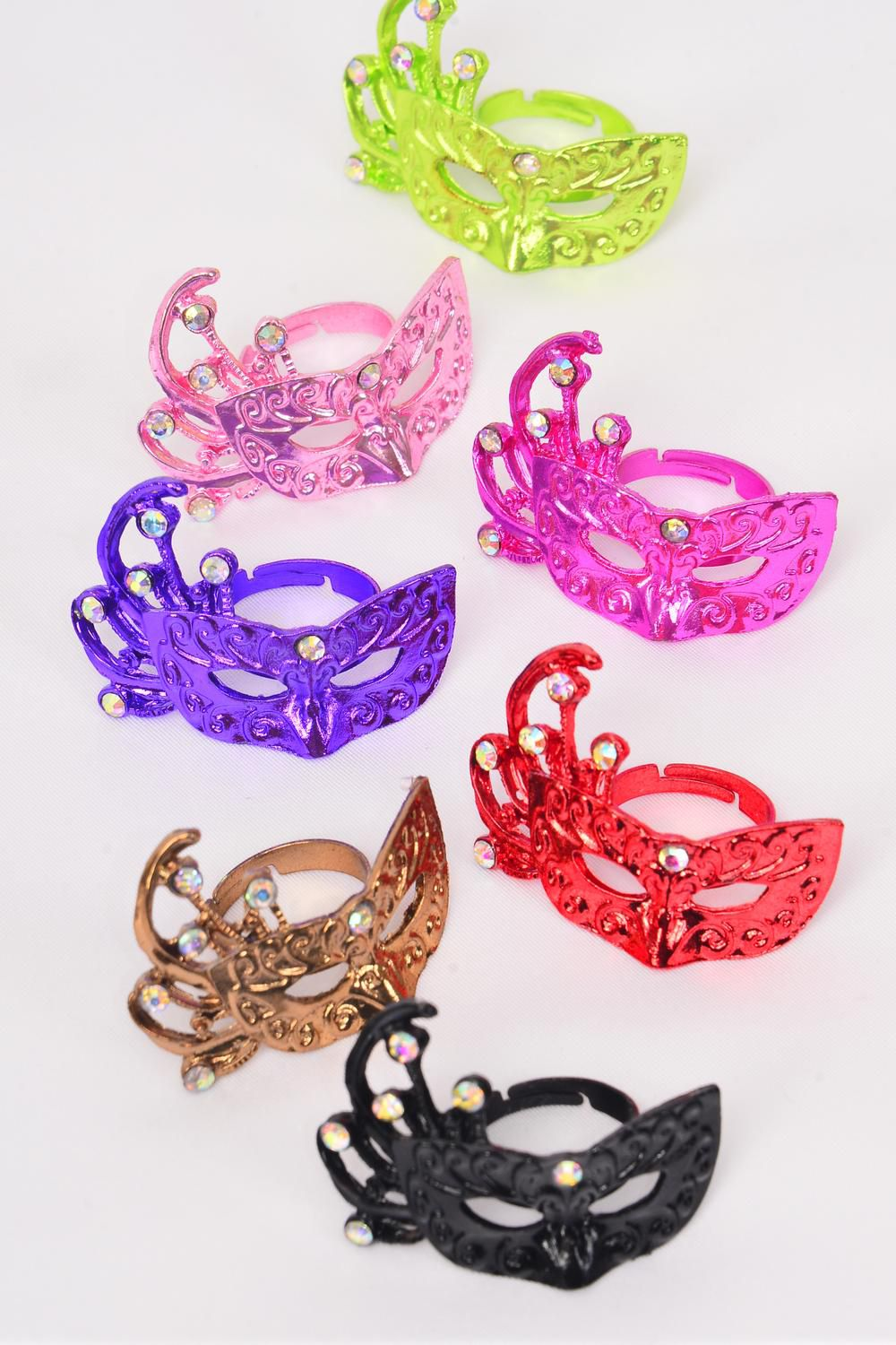 "Rings Mardigras Mask Adjustable/DZ **Adjustable** Face Size-1.5""x 1.25"" Wide, 2 Black,2 Fuchsia,2 Purple,2 Pink,2 Lime,1 Red,1 Brown,7 Color Asst"