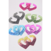 "Earrings Pin Catch Heart Pastel Color Asst/DZ Size-3""x 2.25"" Wide,2 of each Color Asst,Earring card & OPP bag & UPC code -"