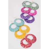 "Earrings Poly Circle With Color Dots/DZ **Fish Hook** Size-2.25"" Wide,Finish 2 Side,2 of each Color Asst,Earring Card & OPP bag & UPC Code -"