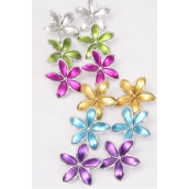 "Earrings Poly Flower Matte Aloha/DZ **Post** Size-2"" Wide,2 Fuchsia,2 Silver,2 Gold,2 Blue,2 Purple,1 Lime,1 Orange,7 Color Aaat,Earring Card & OPP Bag & UPC Code"