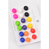 Earrings 9 Pair Acrylic Balls Multi/DZ **Post** Size- 12 mm,Pre Color Asst,Opp Bag & UPC Code,9 pair per Card,12 Card= Dozen