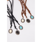 Necklace Leather Feel Oval Pendant Semiprecious Pendant Semiprecious Stone/DZ Necklace **Adjustable** 4 Ivory,4 Black,4 Turquoise Asst,Hang Tag & OPP Bag & UPC Code