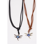 Necklace Leather Feel Metal Antique Dragonfly Pendant Blue Venetian Glass/DZ match 02916 Necklace **Adjustable** 6 BLack,6 Brown Mix,Hang Tag & OPP Bag & UPC Code