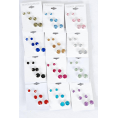 Earrings 3 Pair Large Acrylic Color St Mix/DZ **Post** Size-6,8,10 mm Mix,12 Color Asst,3 pair/Card,12 card= Dozen,OPP Bag & UPC Code